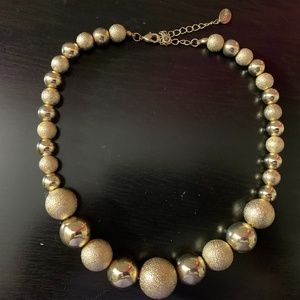 Gold Statement Neckline Necklace with Spheres NWOT